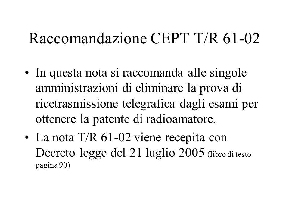Raccomandazione CEPT T/R 61-02 In questa nota si raccomanda alle singole amministrazioni di eliminare la prova di ricetrasmissione telegrafica dagli e
