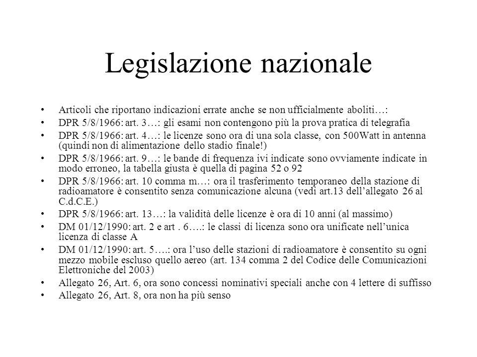 Legislazione nazionale Articoli che riportano indicazioni errate anche se non ufficialmente aboliti…: DPR 5/8/1966: art. 3…: gli esami non contengono