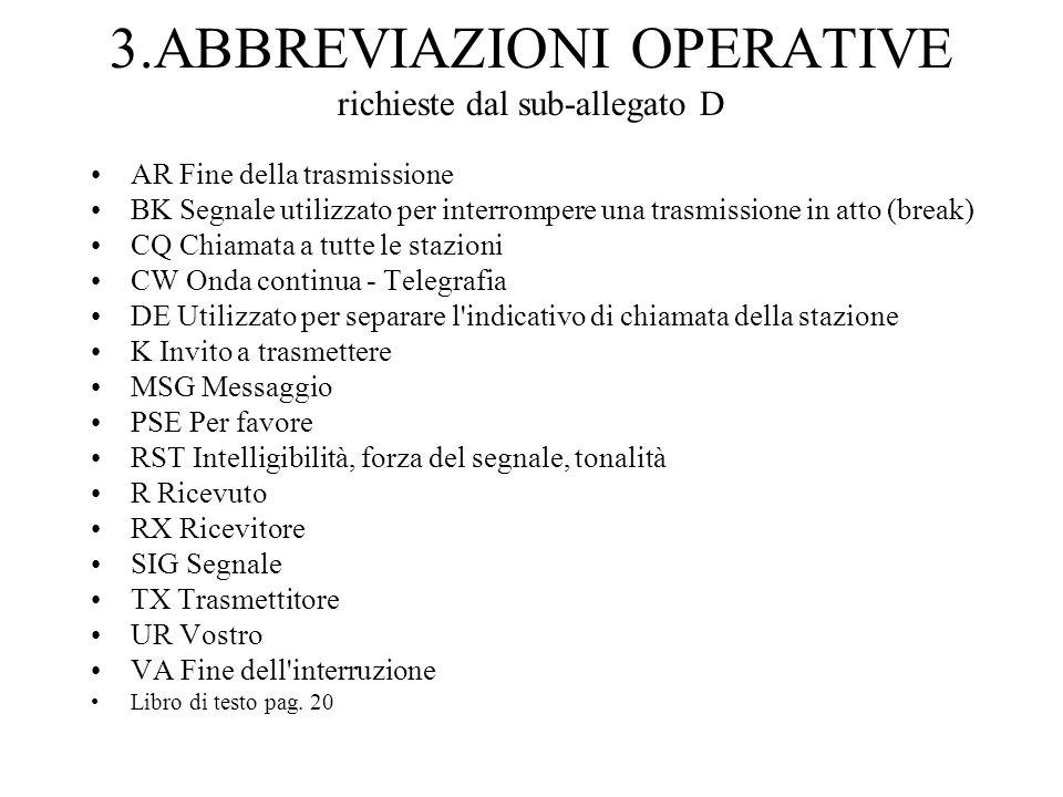 3.ABBREVIAZIONI OPERATIVE richieste dal sub-allegato D AR Fine della trasmissione BK Segnale utilizzato per interrompere una trasmissione in atto (bre