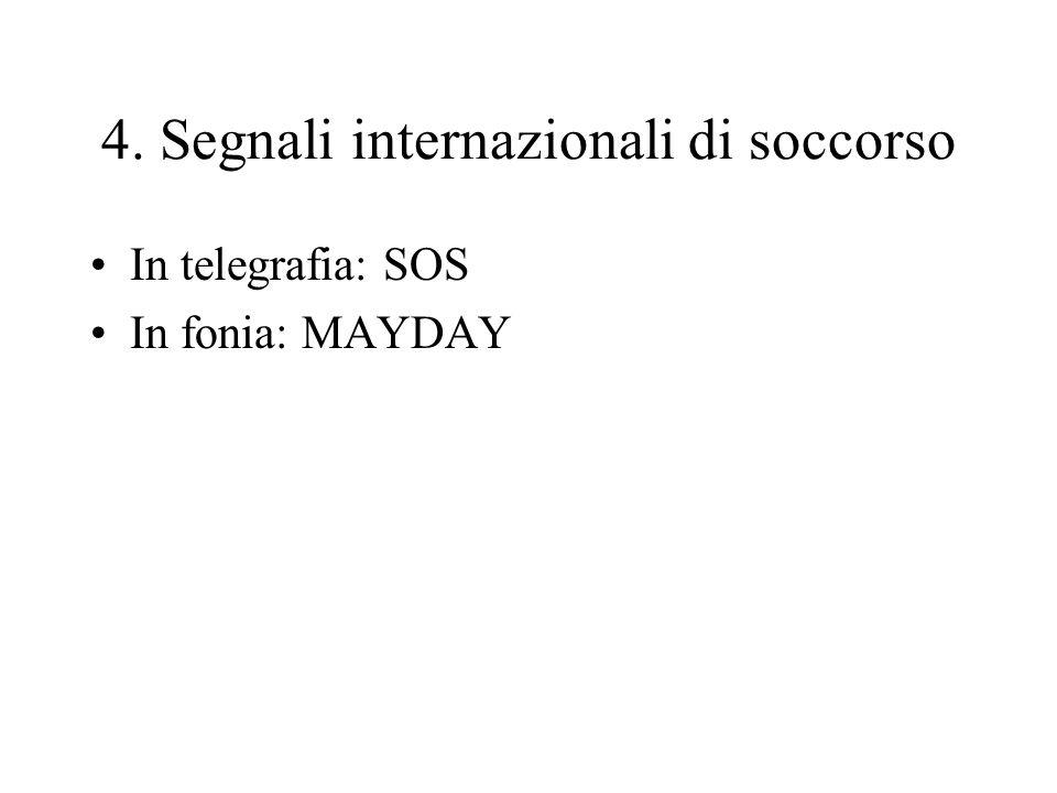 4. Segnali internazionali di soccorso In telegrafia: SOS In fonia: MAYDAY