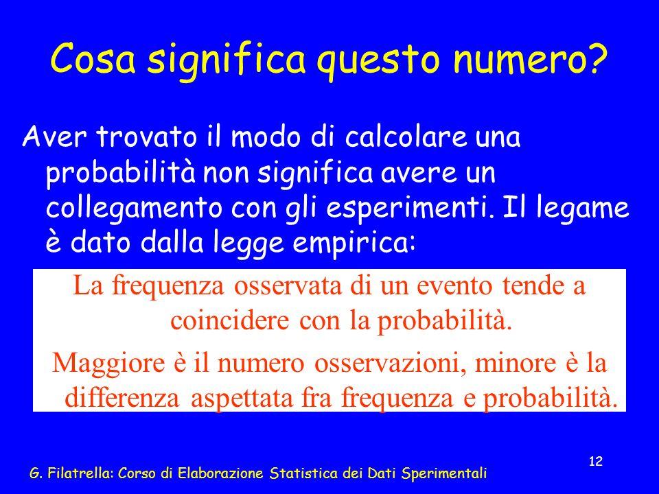 G. Filatrella: Corso di Elaborazione Statistica dei Dati Sperimentali 12 Cosa significa questo numero? Aver trovato il modo di calcolare una probabili