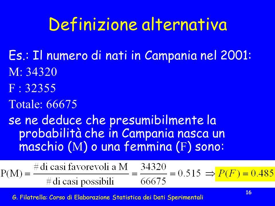 G. Filatrella: Corso di Elaborazione Statistica dei Dati Sperimentali 16 Definizione alternativa Es.: Il numero di nati in Campania nel 2001: M: 34320