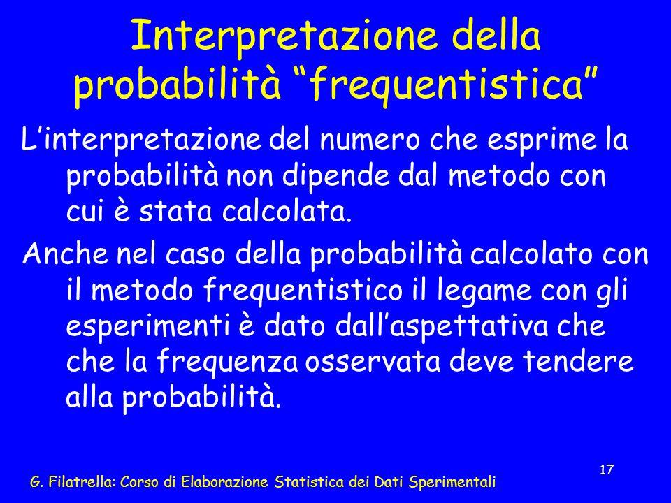 G. Filatrella: Corso di Elaborazione Statistica dei Dati Sperimentali 17 Interpretazione della probabilità frequentistica Linterpretazione del numero