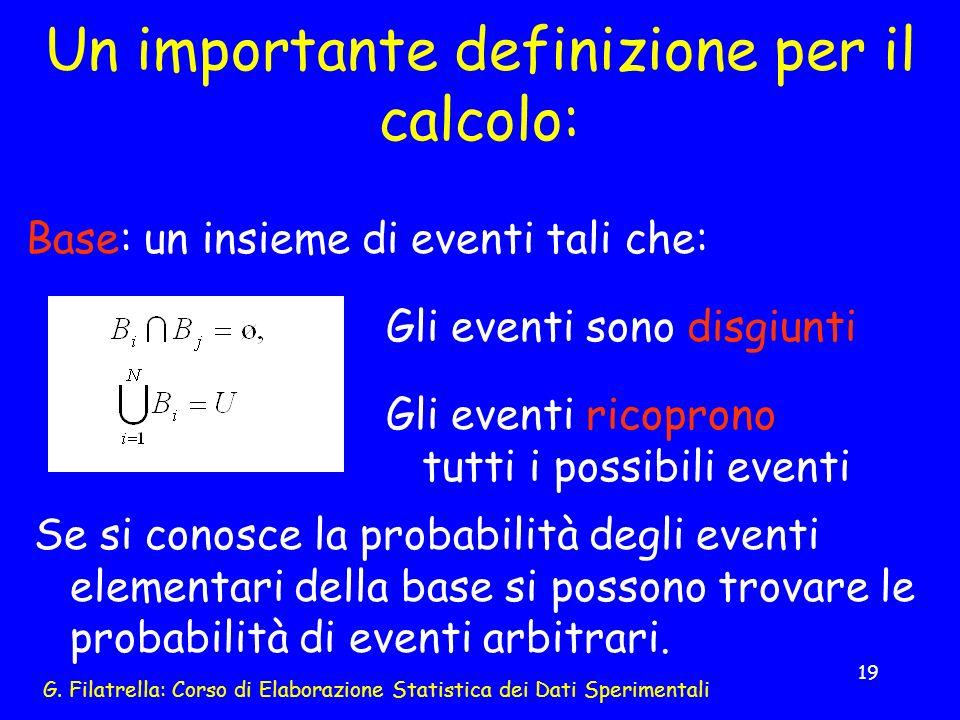 G. Filatrella: Corso di Elaborazione Statistica dei Dati Sperimentali 19 Un importante definizione per il calcolo: Base: un insieme di eventi tali che