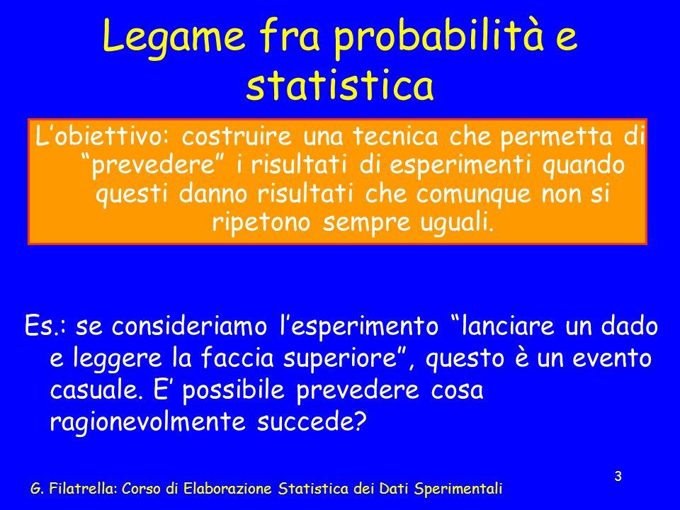 G. Filatrella: Corso di Elaborazione Statistica dei Dati Sperimentali 3 Legame fra probabilità e statistica Lobiettivo: costruire una tecnica che perm
