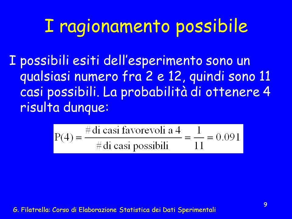 G. Filatrella: Corso di Elaborazione Statistica dei Dati Sperimentali 9 I ragionamento possibile I possibili esiti dellesperimento sono un qualsiasi n