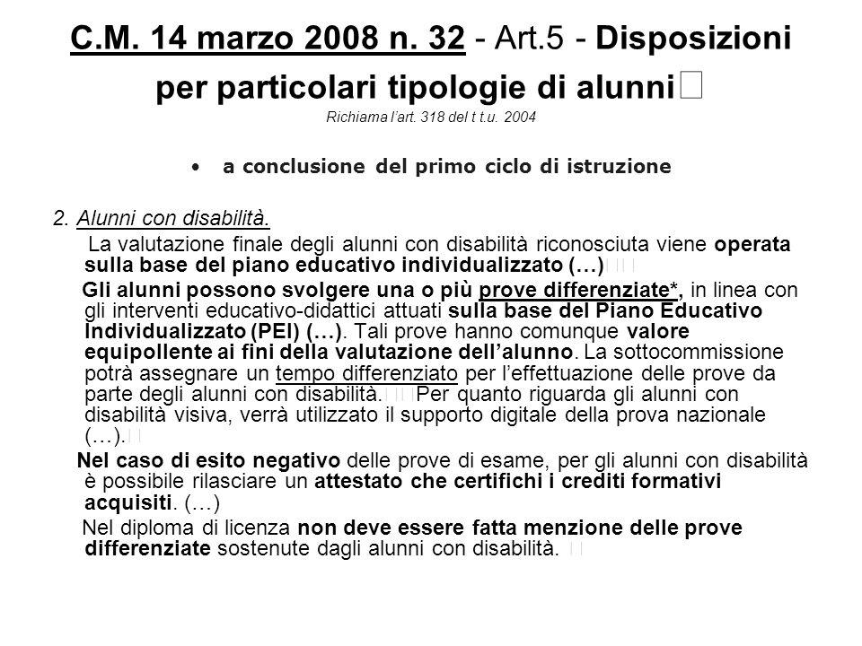 C.M. 14 marzo 2008 n. 32 - Art.5 - Disposizioni per particolari tipologie di alunni Richiama lart. 318 del t t.u. 2004 a conclusione del primo ciclo d