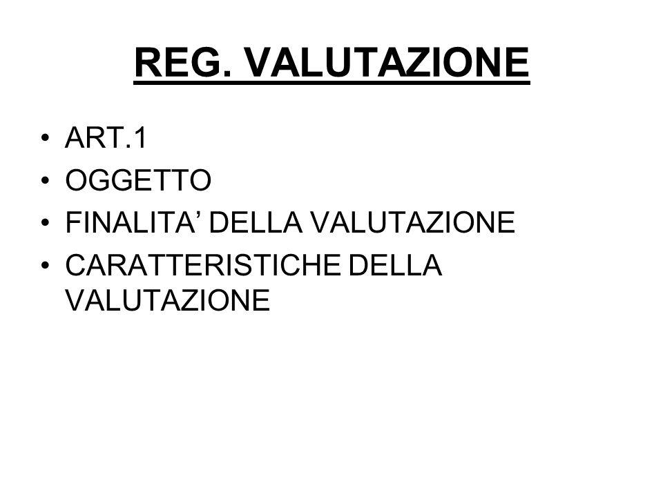 REG. VALUTAZIONE ART.1 OGGETTO FINALITA DELLA VALUTAZIONE CARATTERISTICHE DELLA VALUTAZIONE
