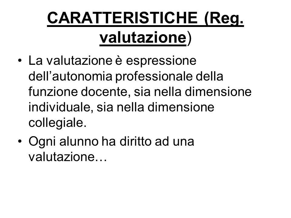 CARATTERISTICHE (Reg. valutazione) La valutazione è espressione dellautonomia professionale della funzione docente, sia nella dimensione individuale,