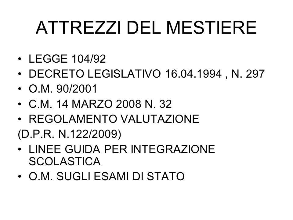 ATTREZZI DEL MESTIERE LEGGE 104/92 DECRETO LEGISLATIVO 16.04.1994, N. 297 O.M. 90/2001 C.M. 14 MARZO 2008 N. 32 REGOLAMENTO VALUTAZIONE (D.P.R. N.122/