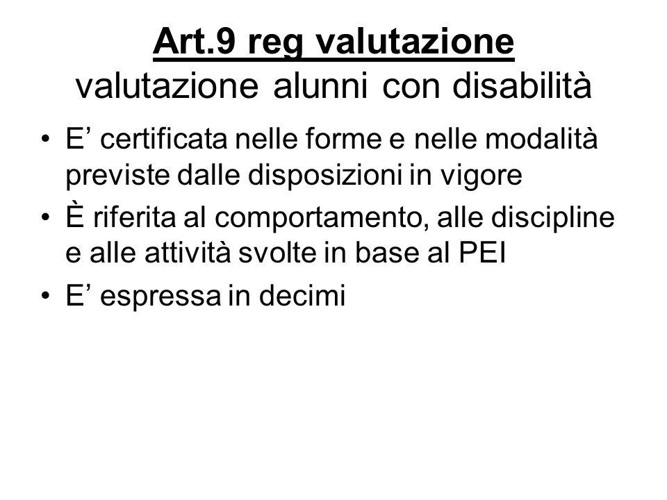 Art.9 reg valutazione valutazione alunni con disabilità E certificata nelle forme e nelle modalità previste dalle disposizioni in vigore È riferita al