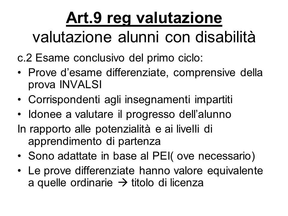 Art.9 reg valutazione valutazione alunni con disabilità c.2 Esame conclusivo del primo ciclo: Prove desame differenziate, comprensive della prova INVA