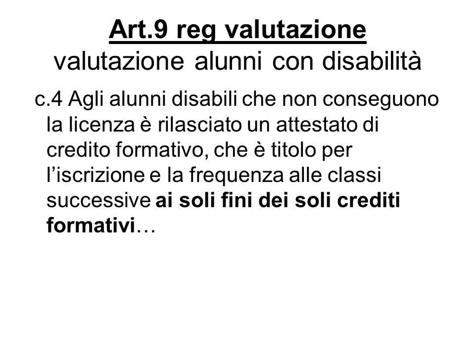 Art.9 reg valutazione valutazione alunni con disabilità c.4 Agli alunni disabili che non conseguono la licenza è rilasciato un attestato di credito fo