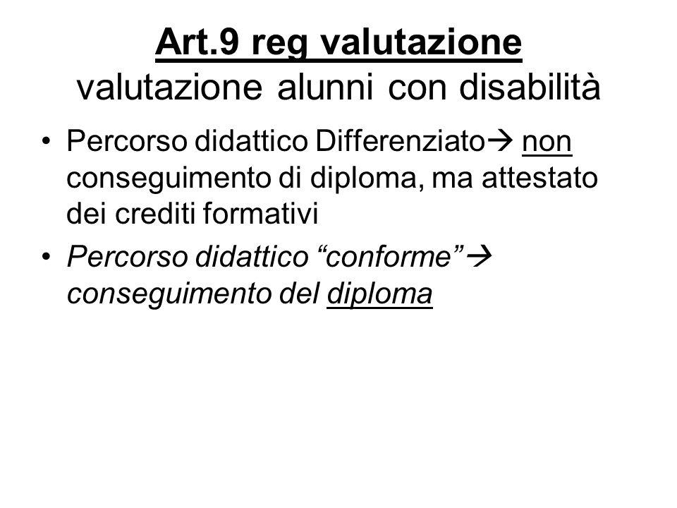 Art.9 reg valutazione valutazione alunni con disabilità Percorso didattico Differenziato non conseguimento di diploma, ma attestato dei crediti format