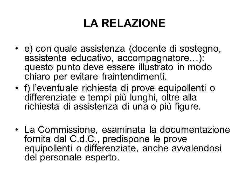 LA RELAZIONE e) con quale assistenza (docente di sostegno, assistente educativo, accompagnatore…): questo punto deve essere illustrato in modo chiaro