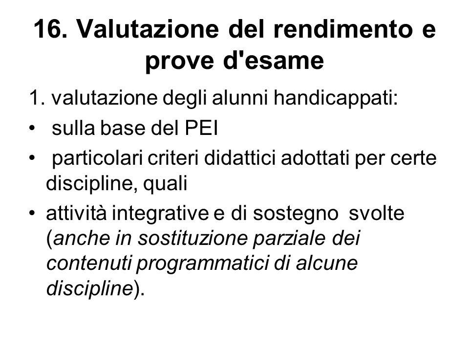 1. valutazione degli alunni handicappati: sulla base del PEI particolari criteri didattici adottati per certe discipline, quali attività integrative e