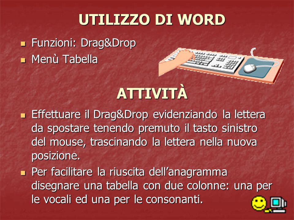 UTILIZZO DI WORD Funzioni: Drag&Drop Funzioni: Drag&Drop Menù Tabella Menù Tabella Effettuare il Drag&Drop evidenziando la lettera da spostare tenendo