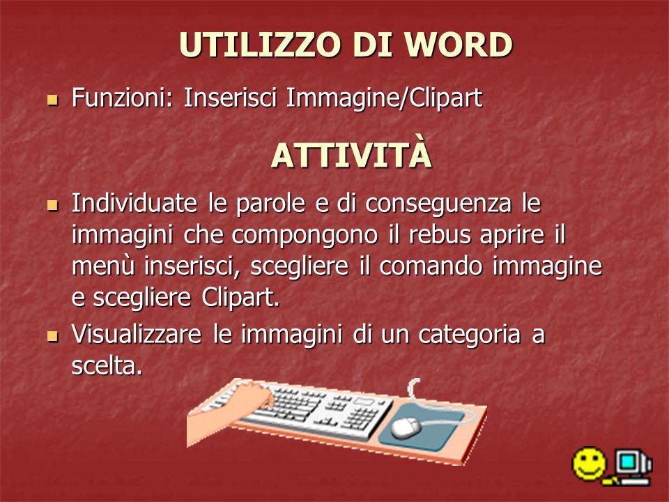 UTILIZZO DI WORD Funzioni: Inserisci Immagine/Clipart Funzioni: Inserisci Immagine/Clipart Individuate le parole e di conseguenza le immagini che comp