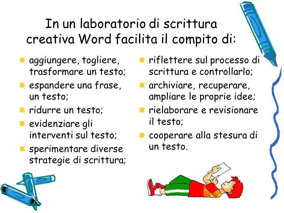 In un laboratorio di scrittura creativa Word facilita il compito di: aggiungere, togliere, trasformare un testo; espandere una frase, un testo; ridurr