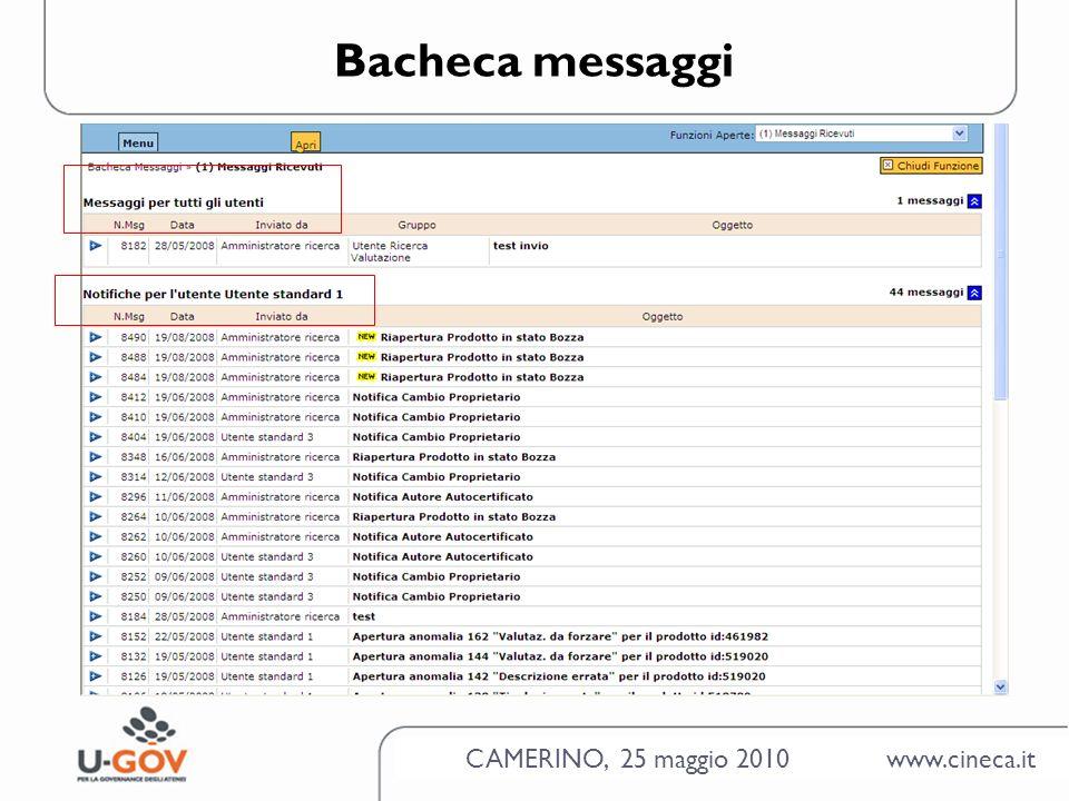 CAMERINO, 25 maggio 2010 www.cineca.it Bacheca messaggi