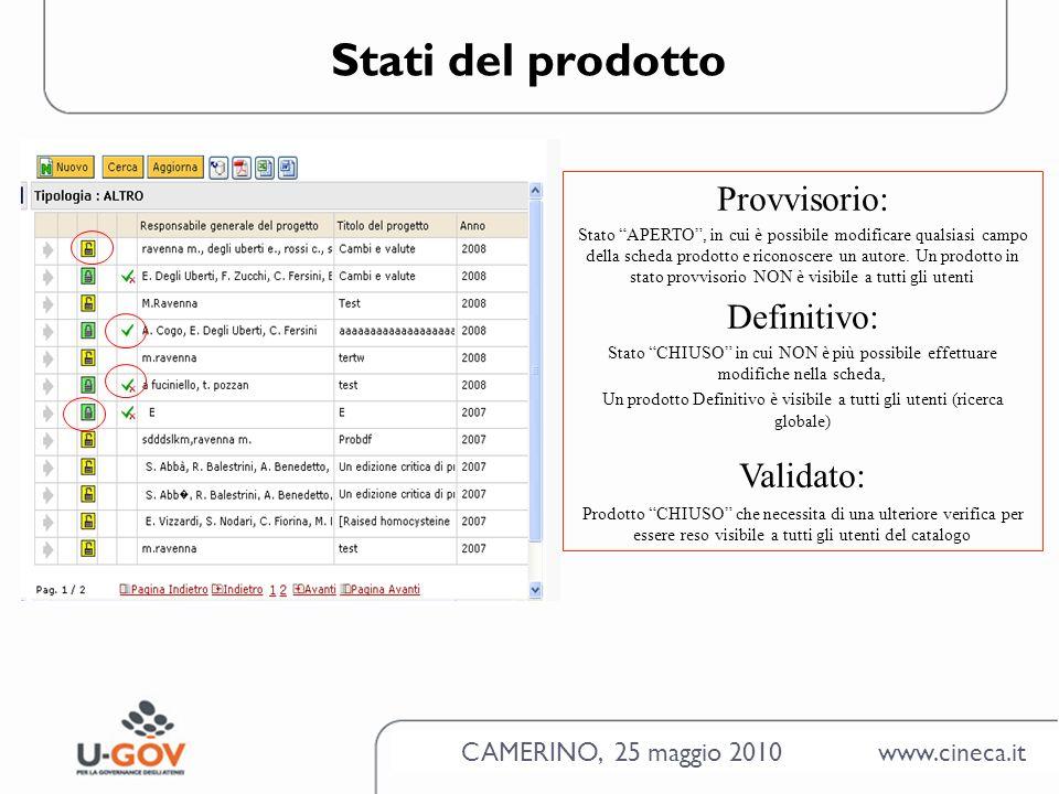 CAMERINO, 25 maggio 2010 www.cineca.it Stati del prodotto Provvisorio: Stato APERTO, in cui è possibile modificare qualsiasi campo della scheda prodotto e riconoscere un autore.