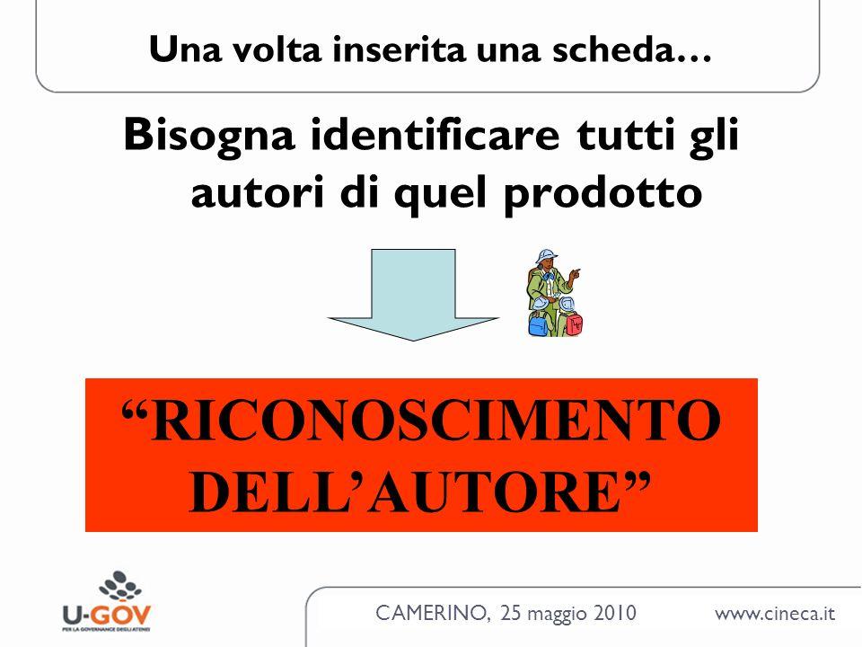 CAMERINO, 25 maggio 2010 www.cineca.it Una volta inserita una scheda… Bisogna identificare tutti gli autori di quel prodotto RICONOSCIMENTO DELLAUTORE
