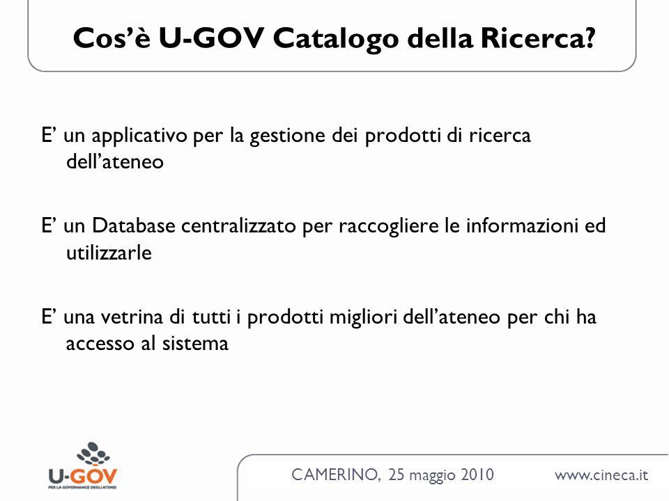 CAMERINO, 25 maggio 2010 www.cineca.it Cosè U-GOV Catalogo della Ricerca.