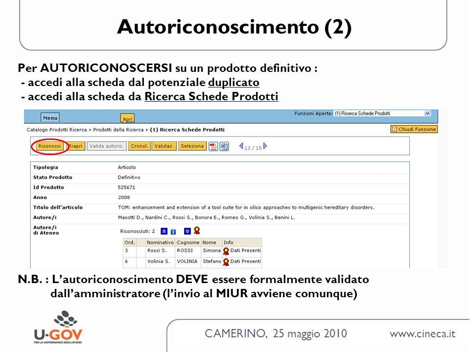 CAMERINO, 25 maggio 2010 www.cineca.it Autoriconoscimento (2) Per AUTORICONOSCERSI su un prodotto definitivo : - accedi alla scheda dal potenziale duplicato - accedi alla scheda da Ricerca Schede Prodotti N.B.