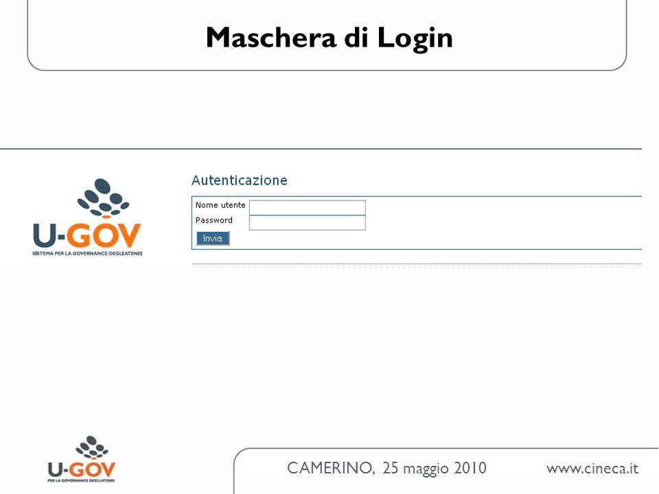 CAMERINO, 25 maggio 2010 www.cineca.it Maschera di Login
