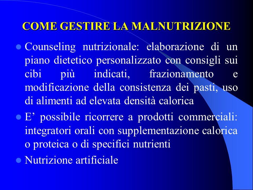 COME GESTIRE LA MALNUTRIZIONE Counseling nutrizionale: elaborazione di un piano dietetico personalizzato con consigli sui cibi più indicati, frazionam