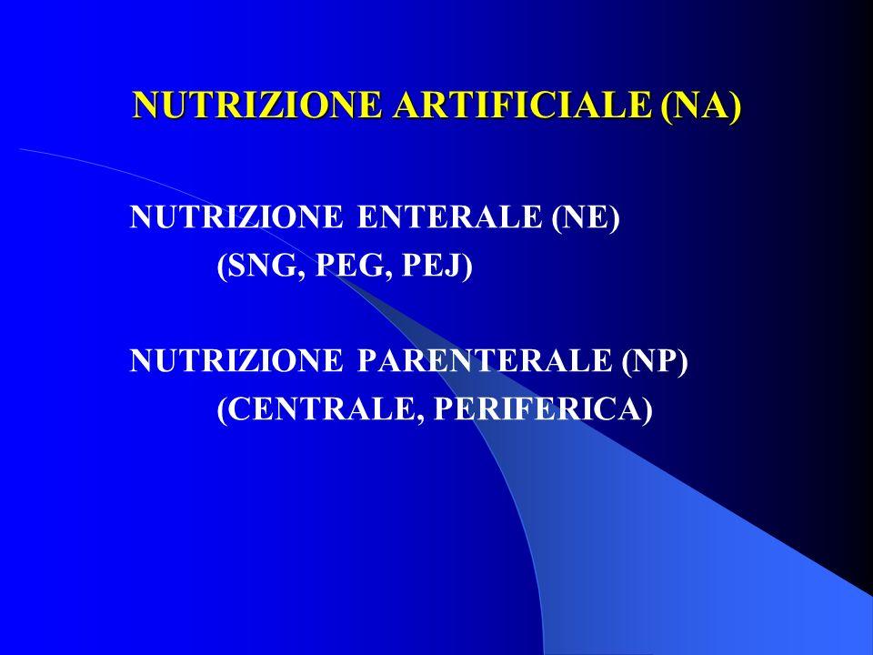 NUTRIZIONE ARTIFICIALE (NA) NUTRIZIONE ENTERALE (NE) (SNG, PEG, PEJ) NUTRIZIONE PARENTERALE (NP) (CENTRALE, PERIFERICA)