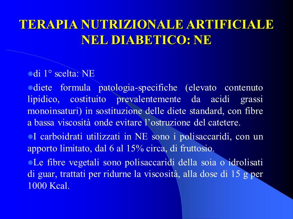 TERAPIA NUTRIZIONALE ARTIFICIALE NEL DIABETICO: NE di 1° scelta: NE diete formula patologia-specifiche (elevato contenuto lipidico, costituito prevale