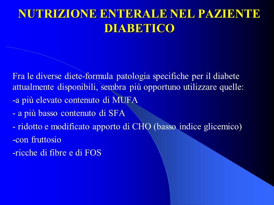 NUTRIZIONE ENTERALE NEL PAZIENTE DIABETICO Fra le diverse diete-formula patologia specifiche per il diabete attualmente disponibili, sembra più opport