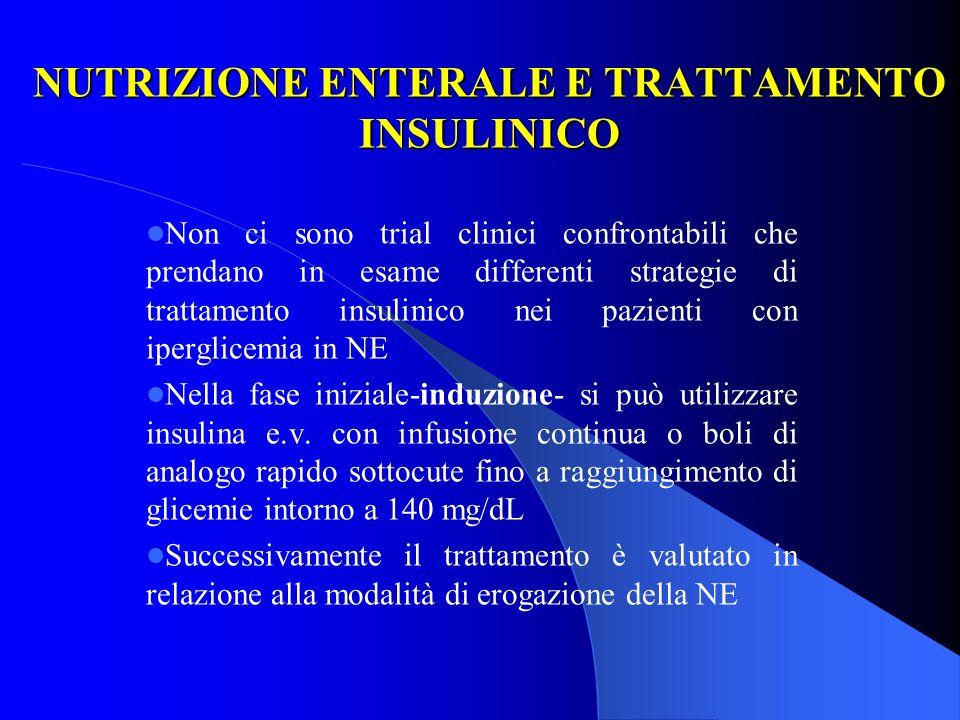 NUTRIZIONE ENTERALE E TRATTAMENTO INSULINICO Non ci sono trial clinici confrontabili che prendano in esame differenti strategie di trattamento insulin