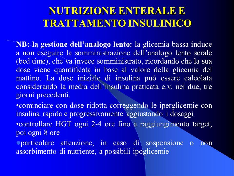 NUTRIZIONE ENTERALE E TRATTAMENTO INSULINICO NB: la gestione dellanalogo lento: la glicemia bassa induce a non eseguire la somministrazione dellanalog