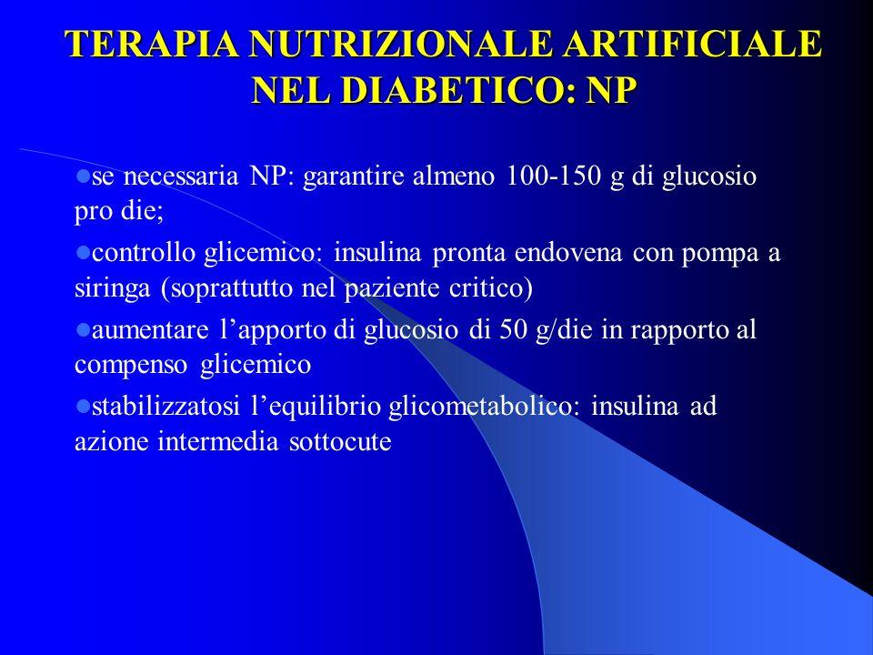 TERAPIA NUTRIZIONALE ARTIFICIALE NEL DIABETICO: NP se necessaria NP: garantire almeno 100-150 g di glucosio pro die; controllo glicemico: insulina pro