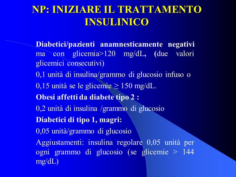 NP: INIZIARE IL TRATTAMENTO INSULINICO Diabetici/pazienti anamnesticamente negativi ma con glicemia>120 mg/dL, (due valori glicemici consecutivi) 0,1