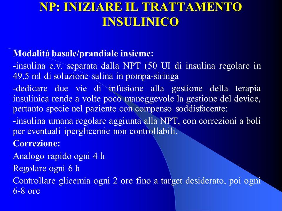 NP: INIZIARE IL TRATTAMENTO INSULINICO Modalità basale/prandiale insieme: -insulina e.v. separata dalla NPT (50 UI di insulina regolare in 49,5 ml di