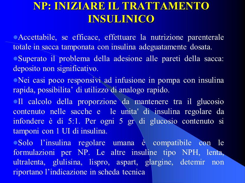 NP: INIZIARE IL TRATTAMENTO INSULINICO Accettabile, se efficace, effettuare la nutrizione parenterale totale in sacca tamponata con insulina adeguatam