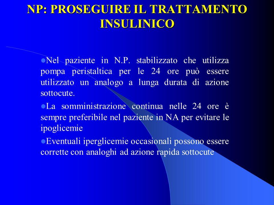 NP: PROSEGUIRE IL TRATTAMENTO INSULINICO Nel paziente in N.P. stabilizzato che utilizza pompa peristaltica per le 24 ore può essere utilizzato un anal