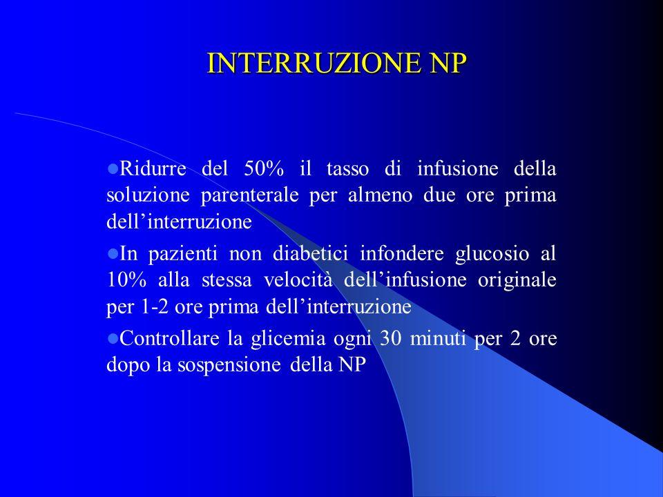 INTERRUZIONE NP Ridurre del 50% il tasso di infusione della soluzione parenterale per almeno due ore prima dellinterruzione In pazienti non diabetici