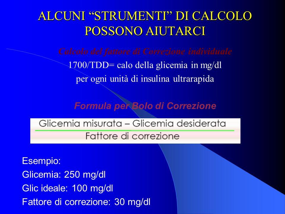 ALCUNI STRUMENTI DI CALCOLO POSSONO AIUTARCI Calcolo del fattore di Correzione individuale 1700/TDD= calo della glicemia in mg/dl per ogni unità di in
