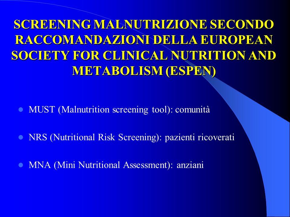 VALUTAZIONE NUTRIZIONALE Rappresenta uno strumento indispensabile per la gestione dei pazienti con necessità di supporto nutrizionale.