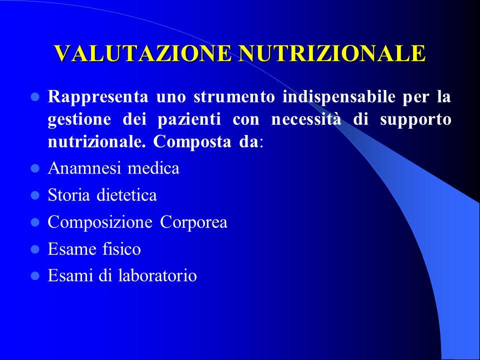 VALUTAZIONE NUTRIZIONALE Rappresenta uno strumento indispensabile per la gestione dei pazienti con necessità di supporto nutrizionale. Composta da: An