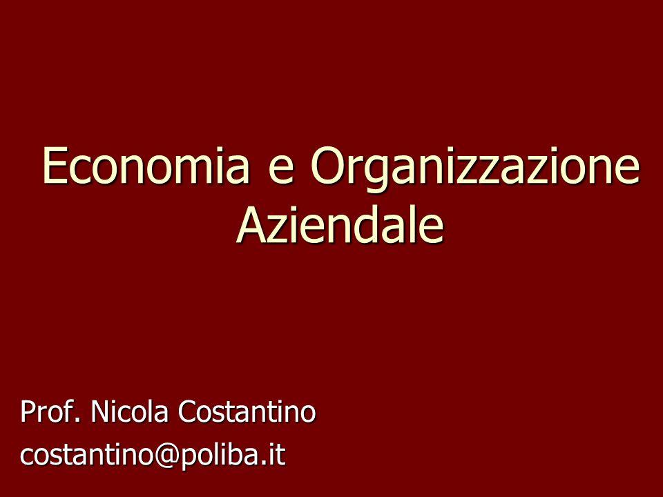 Economia e Organizzazione Aziendale Prof. Nicola Costantino costantino@poliba.it