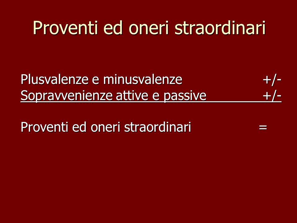 Proventi ed oneri straordinari Plusvalenze e minusvalenze +/- Sopravvenienze attive e passive +/- Proventi ed oneri straordinari=
