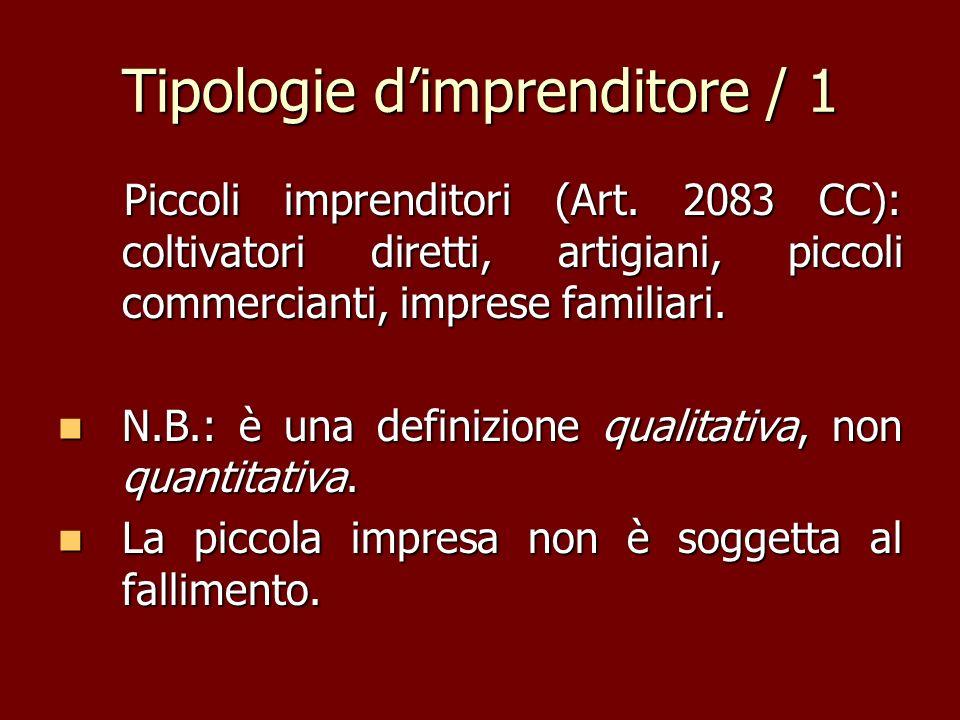 Tipologie dimprenditore / 1 Piccoli imprenditori (Art. 2083 CC): coltivatori diretti, artigiani, piccoli commercianti, imprese familiari. Piccoli impr