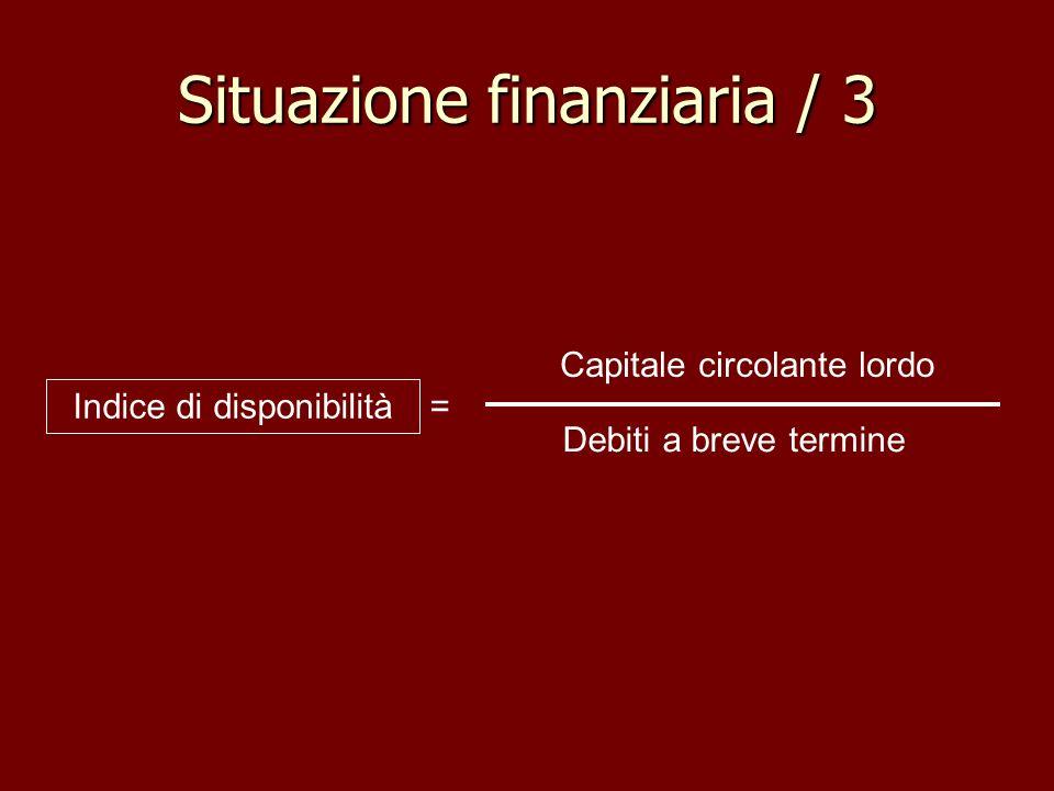 Situazione finanziaria / 3 Capitale circolante lordo Debiti a breve termine Indice di disponibilità =