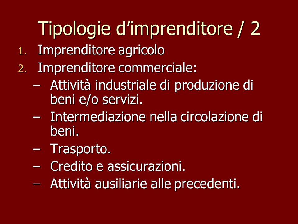 Tipologie dimprenditore / 2 1. Imprenditore agricolo 2. Imprenditore commerciale: –Attività industriale di produzione di beni e/o servizi. –Intermedia