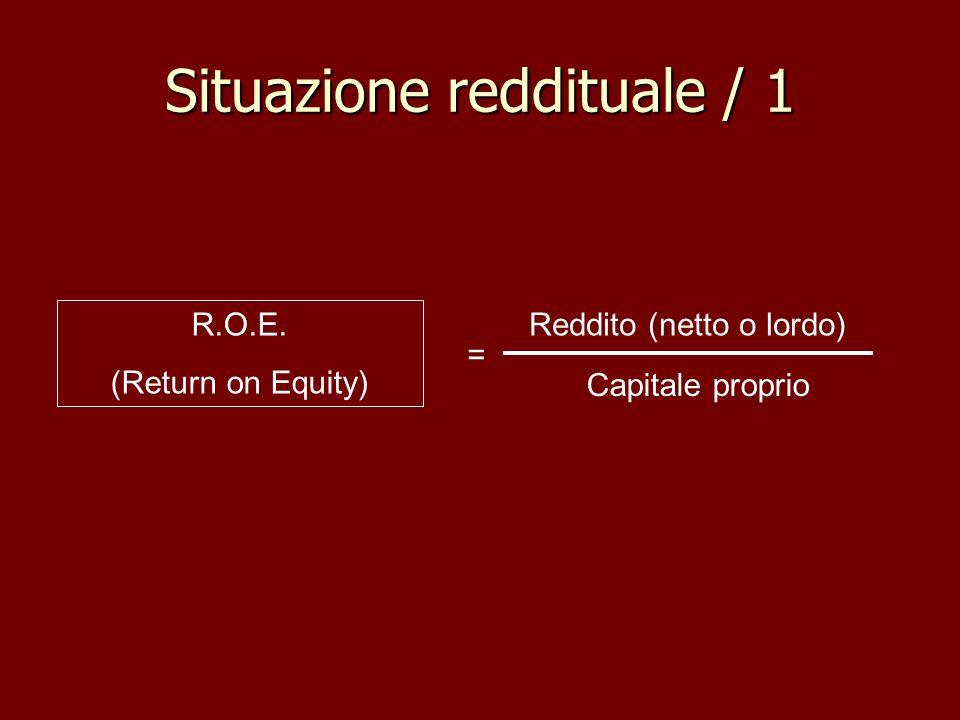 Situazione reddituale / 1 R.O.E. (Return on Equity) Reddito (netto o lordo) Capitale proprio =